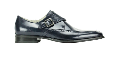 Leather Monkstrap Dress Shoe - Navy
