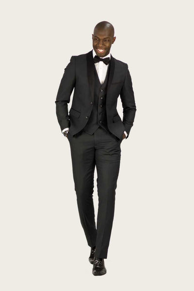 Contrast Shawl Tuxedo | 3-Piece | Charcoal