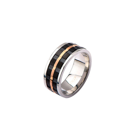 Black & Rose Plate Spinner Ring