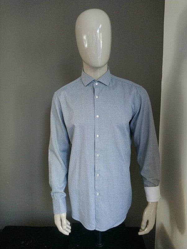 Hugo Boss overhemd. Zwart Wit geblokt. Maat 43 / XL. Slim Fit