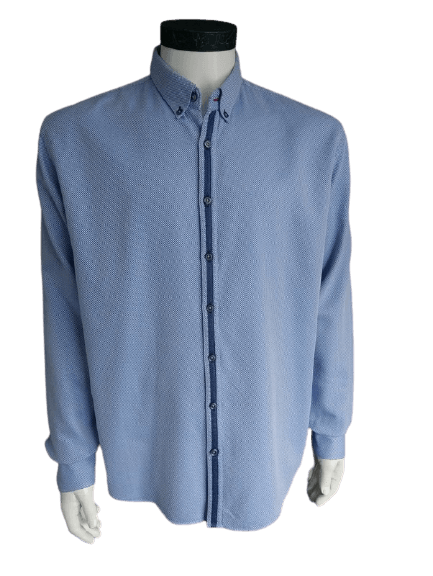 Blue Industry overhemd. Blauw Wit. Maat 44 / XL. Perfect Fit