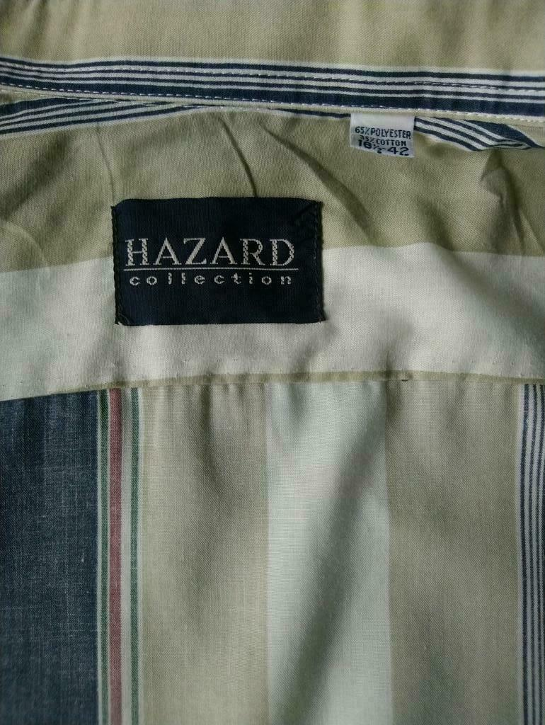 Hazard Collection overhemd. Blauw Beige gestreept. Maat L