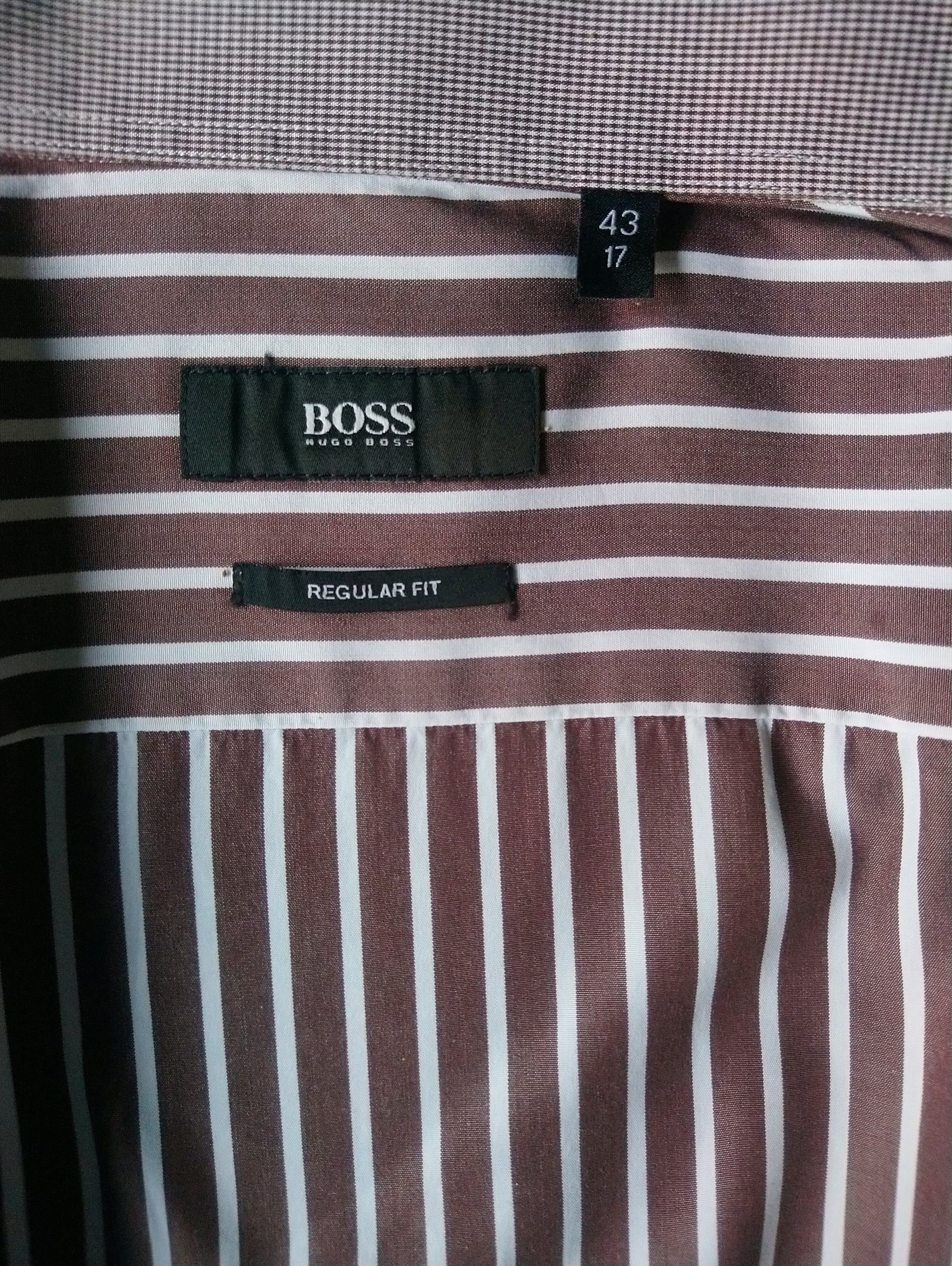 Hugo Boss overhemd. Bruin Wit gestreept. Maat 43 / XL. Regular Fit. - ecogents
