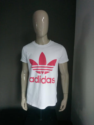 Adidas Classic shirt. Wit Rood. Maat L.