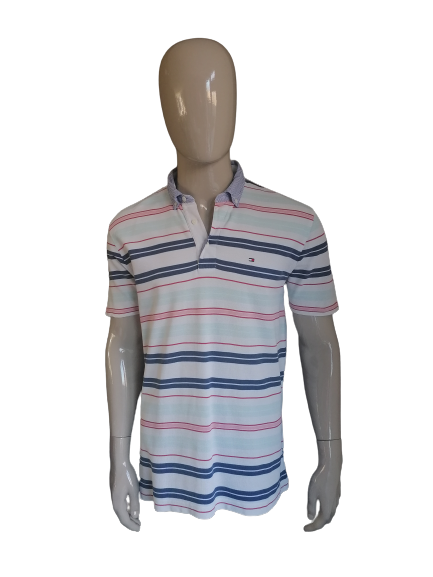 Tommy Hilfiger polo. Wit blauw roze. Maat L. Lang model.