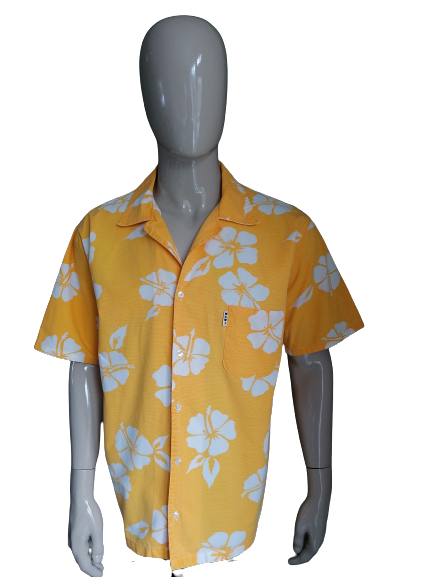Maui and Sons Hawaii overhemd korte mouw. Geel Wit. Maat XL