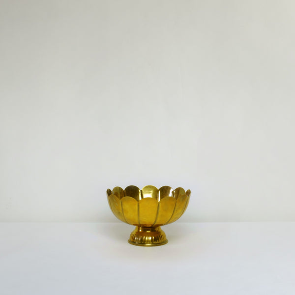 Deep brass footed bowl