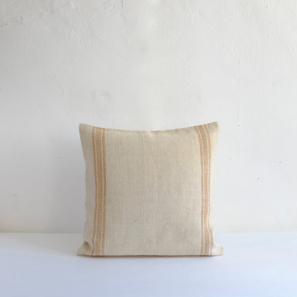 Heavy vintage natural linen yellow striped cushion