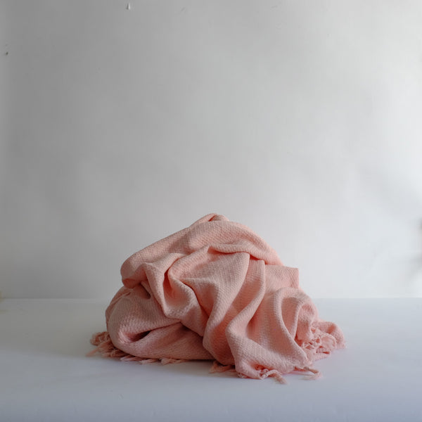 Pink cotton knitted blanket