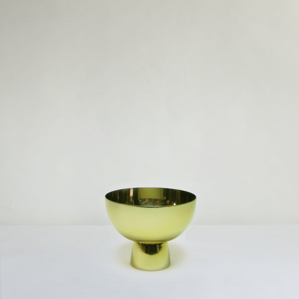 Small brass pedestal bowl