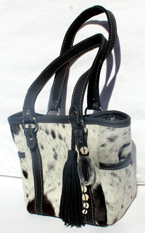 BOX BAG PURSE - black & white cowfur with black leather
