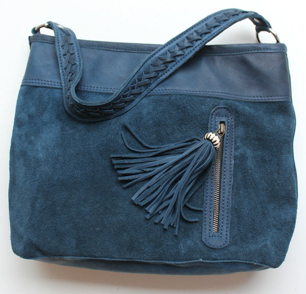 CARLA SUEDE LEATHER HANDBAG - blue