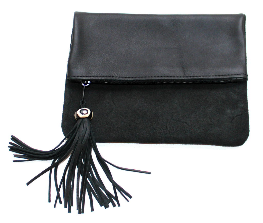 CHIC CLUTCH - in suede & leather