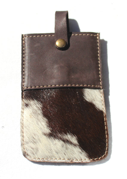 FUR CELL PHONE CASE - chocolate & cream cowfur