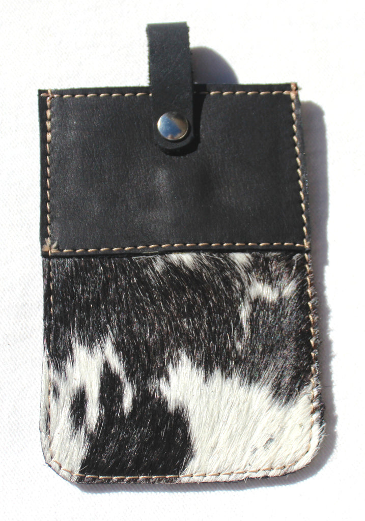 FUR CELL PHONE CASE - black & white cowfur