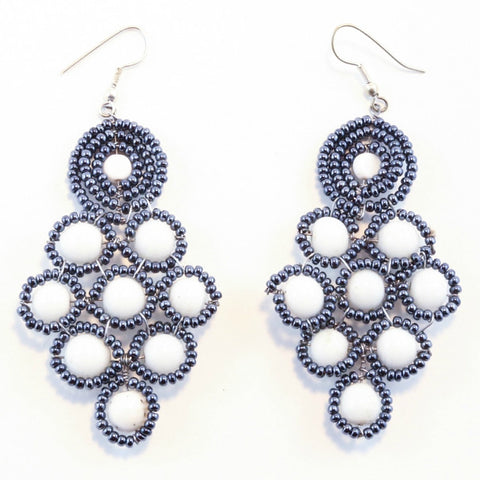 Clara Chandelier Earrings in Grey and White