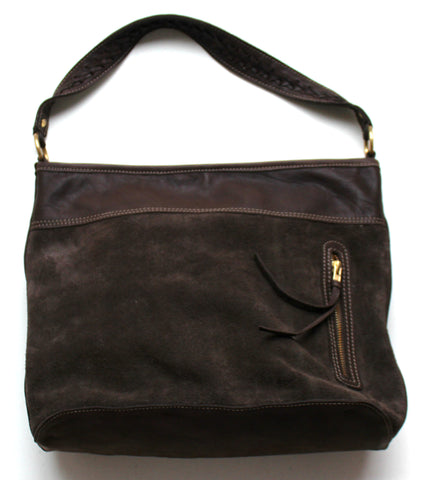 CARLA SUEDE LEATHER HANDBAG - chocolate front