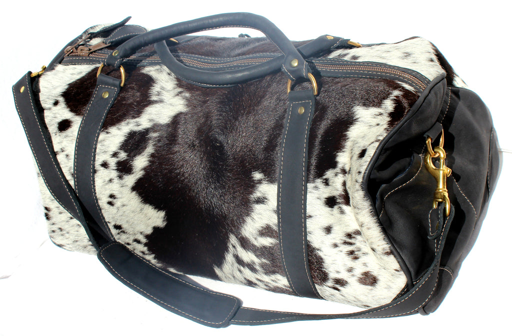 DUFFLE LUXURY WEEKENDER BAG - in cow fur and leather