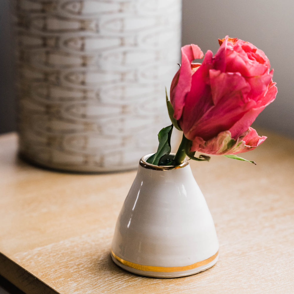 Elegant Small White and Gold Vase