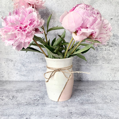 Pink and White Vase with Gold Accent