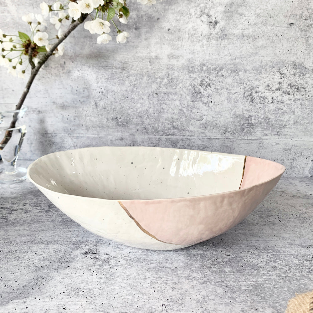 Pink and Gold Ceramic Bowl