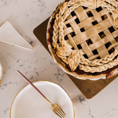 White and Gold Pie Plate