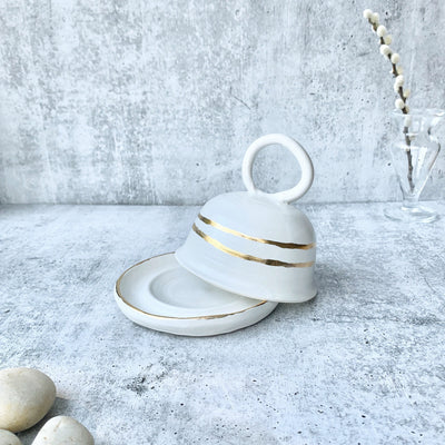 Gold and White Butter Dish