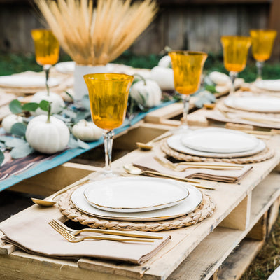 Fall themed rustic elegant tablescape
