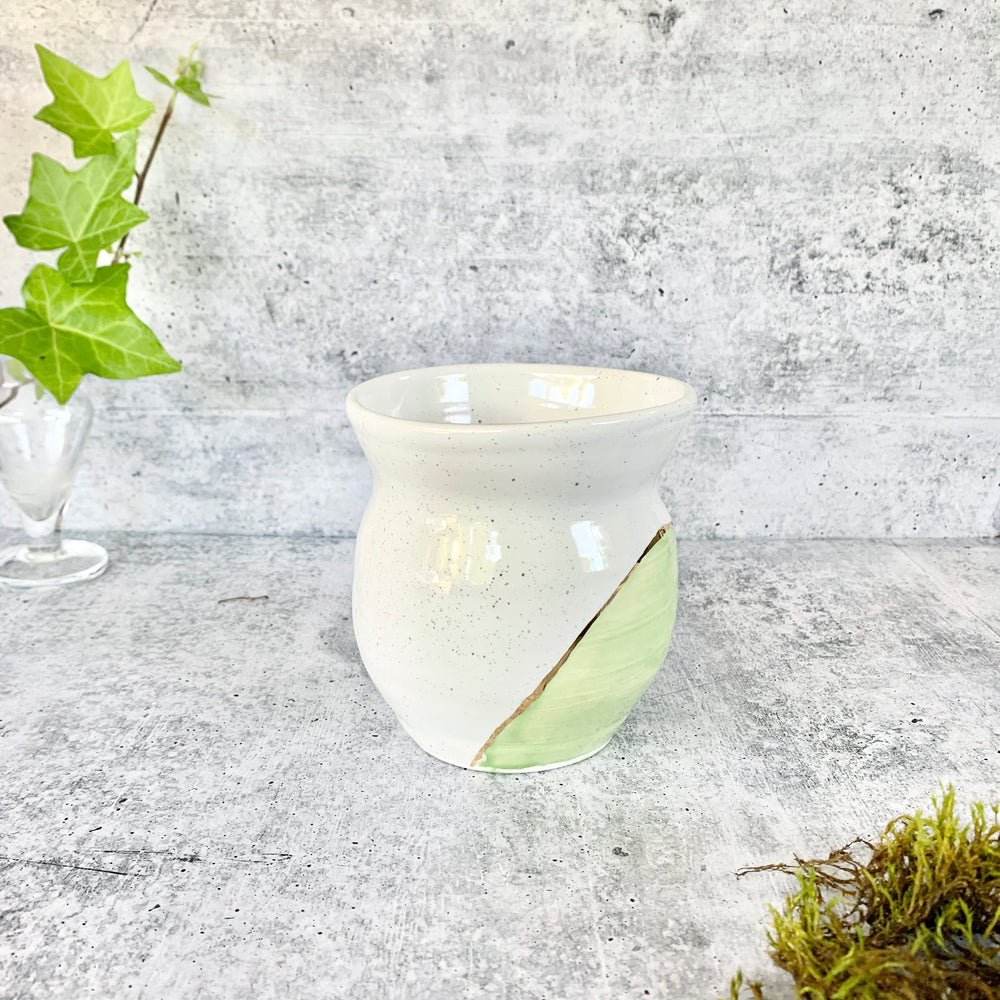 Feminine Green and White Vase with Speckles