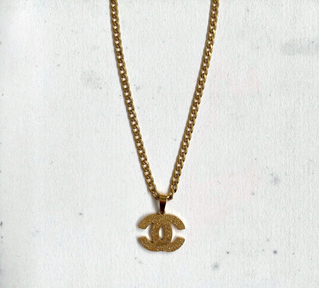Gold Glitter CC Necklace