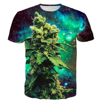 ONSEME Newest Galaxy Weed 3D T Shirt Unisex Hip Hop Tops Male Short Sleeve T Shirts Casual Tees