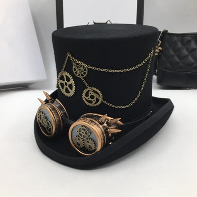 Steam Punk Wool Top Hat with gears and goggles