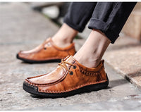 Handmade Leather Casual Shoes Flat Moccasins