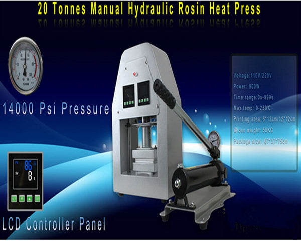 20 ton manual Hydraulic Rosin heat press 12cm*12cm