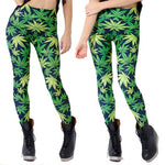 LEGGINGS leaf pattern green pants