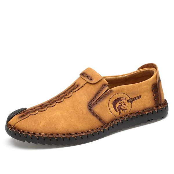 Men Loafers Split Leather Shoes Handmade Moccasins