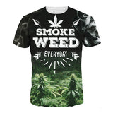 S-5XL T Shirt Summer Men Women 3d Print Smoke Weed Pattern T Shirt Camisetas Short Sleeves O-Neck Compression Tees Homme