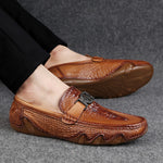Handmade genuine leather slip-on moccasins