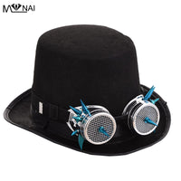 Black Fedora Steampunk Victorian Hat with Spike Goggles