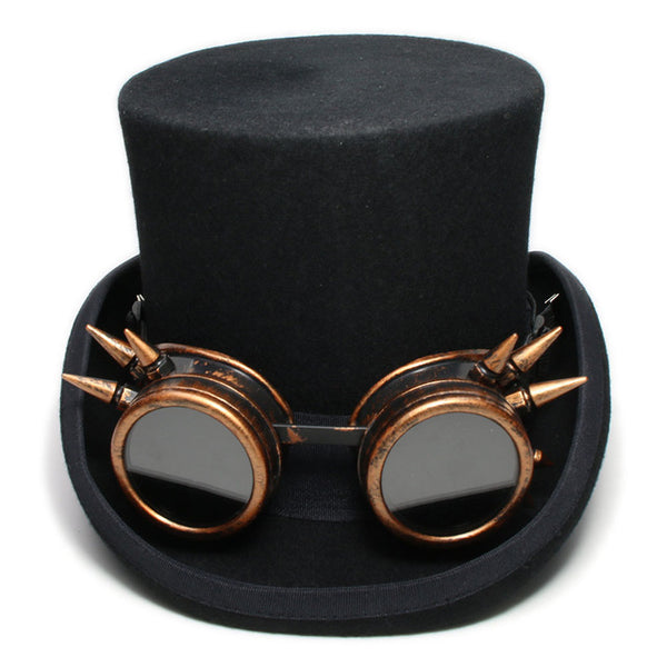Steam Punk Top Hat With Copper Goggles