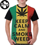 Rasta Colors keep calm and smoke weed 3D men's short sleeve T-shirt