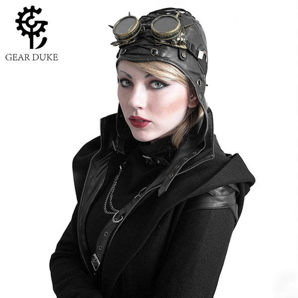 Aviator Steampunk Hat Steam Punk Vintage PU Leather Flying cap millinery goggles
