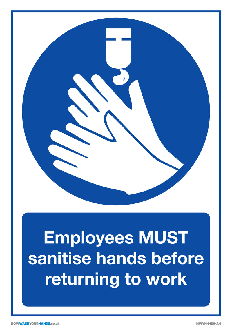 Employees Must Sanitise Hands x5