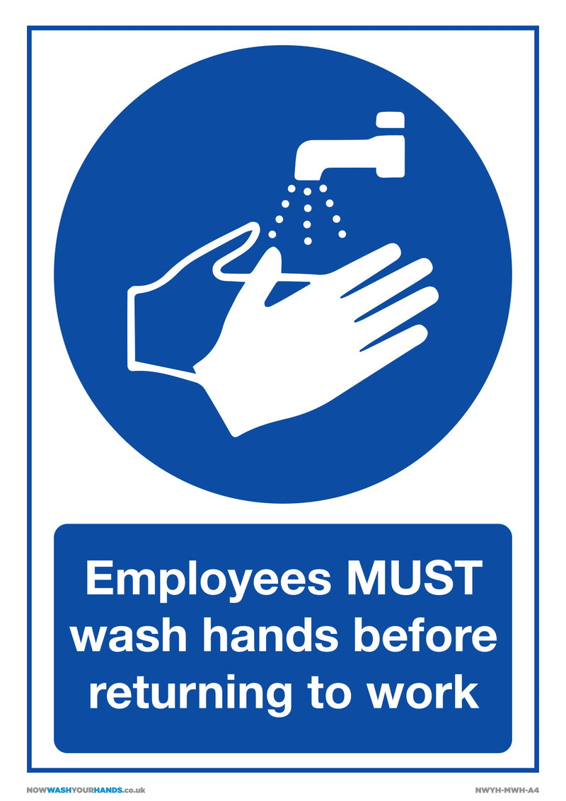 Employees Must Wash Hands x5