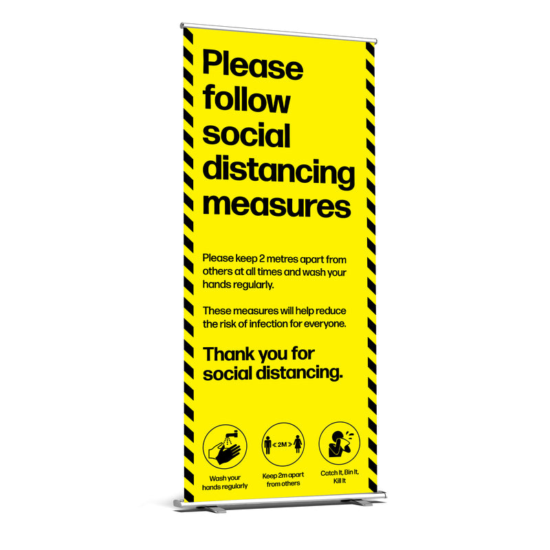 Please Follow Social Distancing Measures Roller Banner