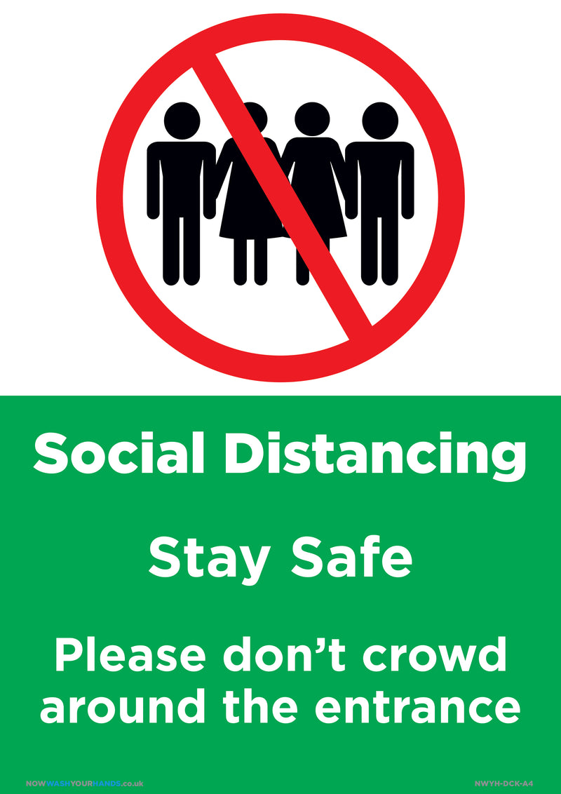 Social Distancing - Please Don't Crowd Around Entrance x 5