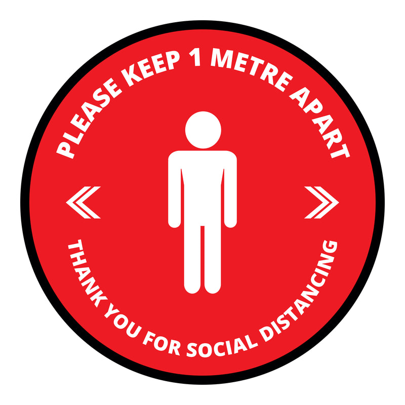 Please Keep 1m Apart Floor Graphic - 400mm Circular - Pack of 10