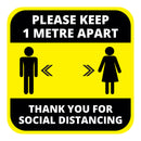 Please Keep 1m Apart Floor Graphic - 400mm Square - Pack of 10