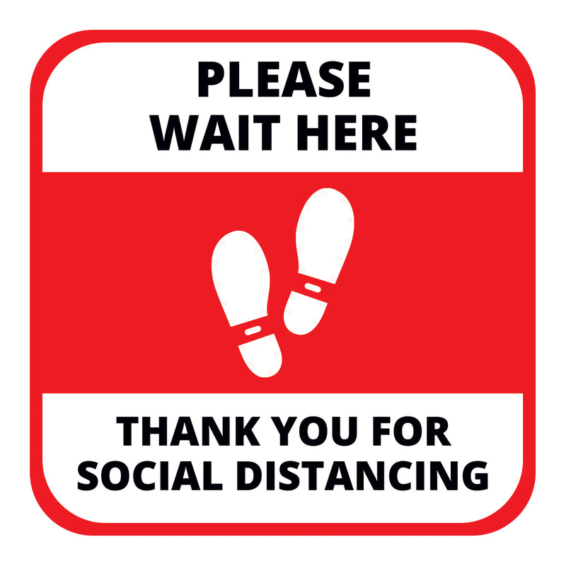 Please Wait Here Floor Graphic - 400mm Square - Pack of 10