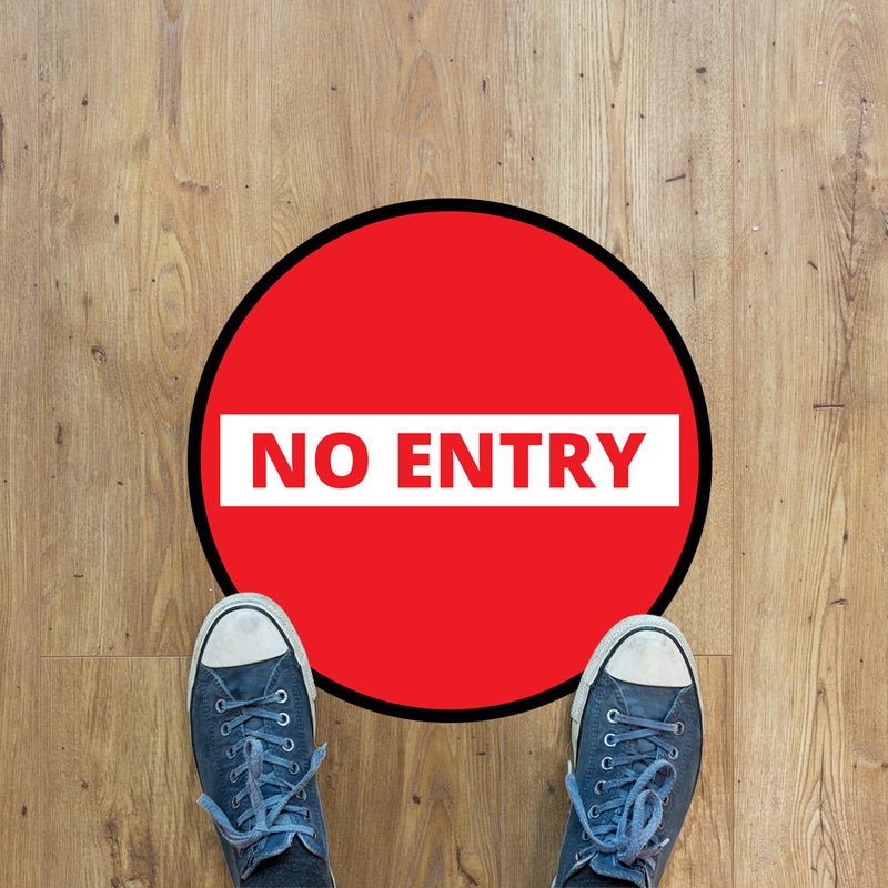 No Entry Floor Graphic - 400mm Circular - Pack of 10